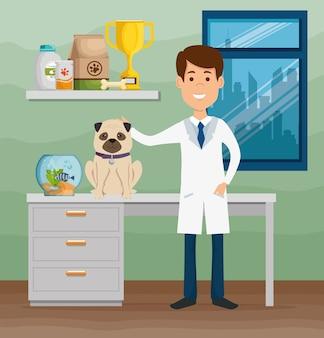 Ветеринарный врач с персонажем талисмана