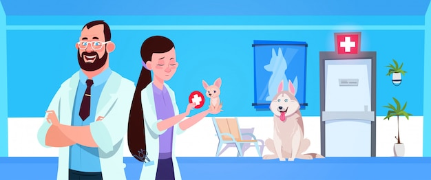 Veterinary doctors over dogs in clinic waiting room vet medicine and care concept