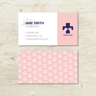 Veterinary double-side business cards template