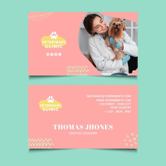 Veterinary double-sided horizontal business card template