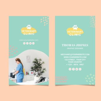 Veterinary double-sided vertical business card template Premium Vector