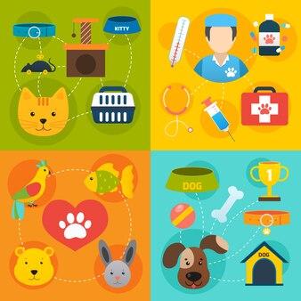 Veterinary elements set flat