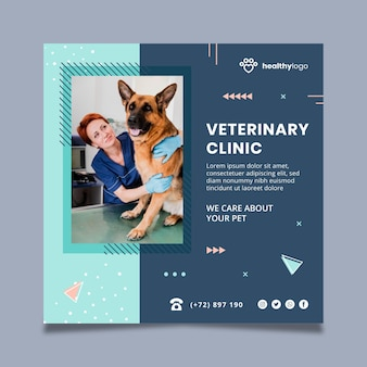 Veterinary flyer template with photo