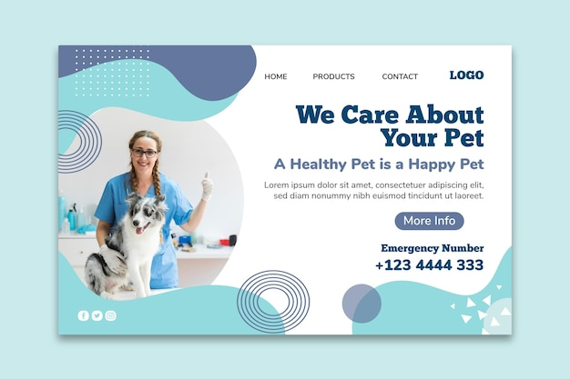Modello di banner orizzontale veterinario