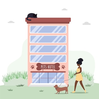 Veterinary hospital services and domestic pets hotels