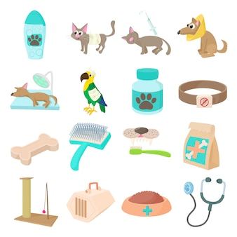 Veterinary icons set in cartoon style isolated vector