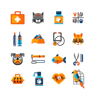 Veterinary icons set with pets