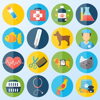 Veterinary icons set