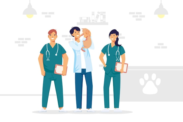 Veterinary medical staff workers professions characters