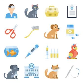 Veterinary medicine cartoon set