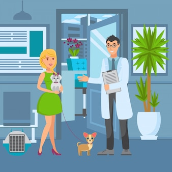 Veterinary office flat vector color illustration