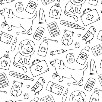 Veterinary seamless pattern with pets, medicines and food. a cat in a collar and a dog with a bandaged paw.