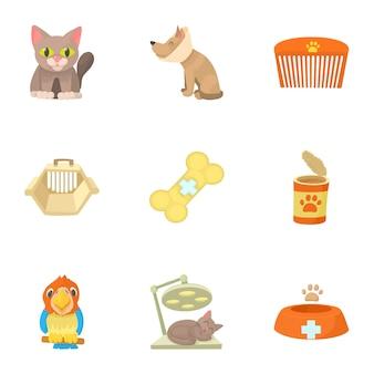 Veterinary set, cartoon style