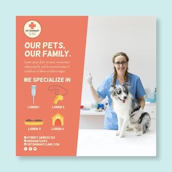 Modello di volantino quadrato veterinario