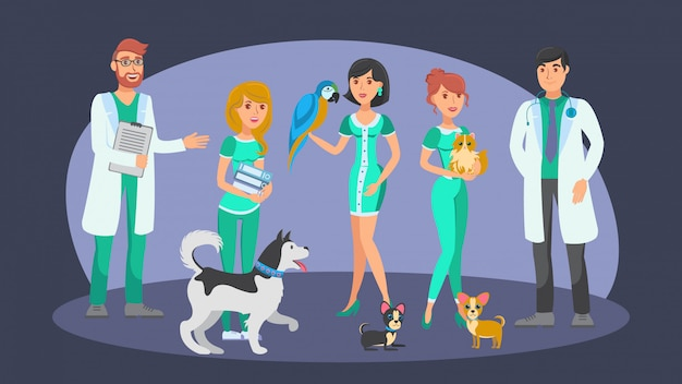 Veterinary staff flat vector color characters