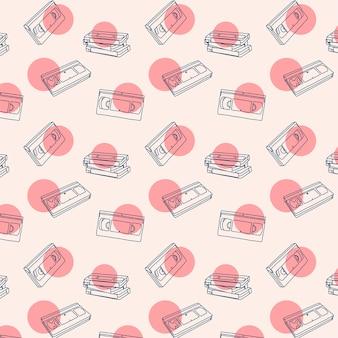 Vhs cassette seamless pattern