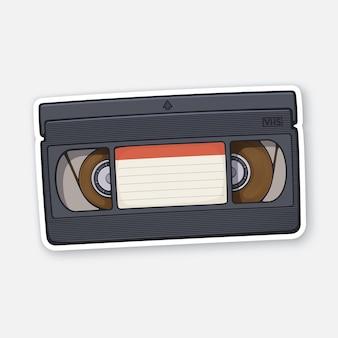 Кассета vhs система видеозаписи ретро-хранилище аналоговой информации векторная иллюстрация
