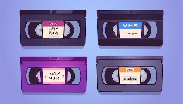 Cassette vhs, vecchi nastri per impianto video domestico e videoregistratore. insieme del fumetto di vettore di cassette vintage