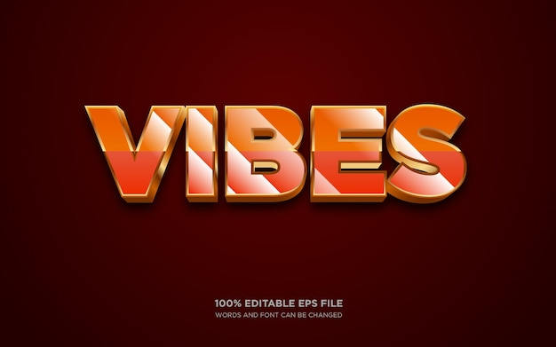 Vibes 3d editable text style effect