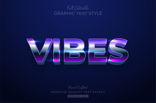 Vibes 80's retro editable text style effect