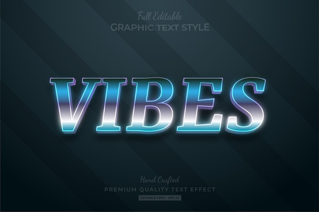 Vibes 80's retro gradient text effect editable premium font style