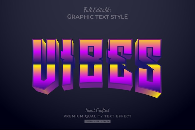 Vibes 80s gradient editable text effect font style