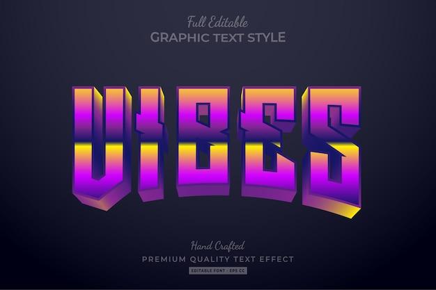 Стиль шрифта с градиентным редактируемым текстовым эффектом vibes 80-х