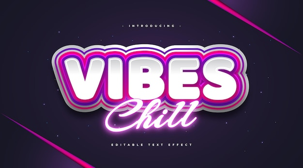Vibes chill text with colorful retro style and glowing purple neon effect