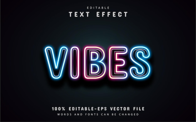 Неоновый текстовый эффект vibes