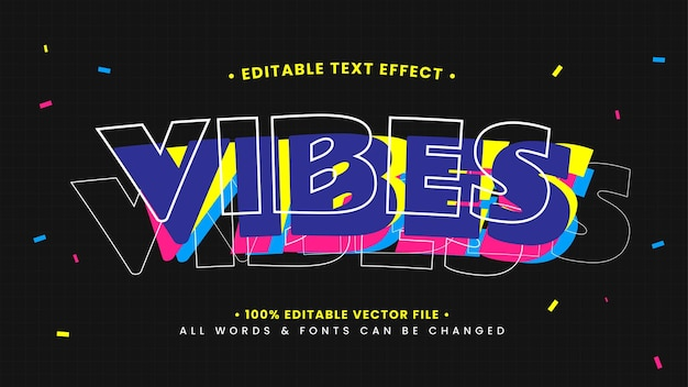 Vibes playful 3d text style effect. editable illustrator text style.