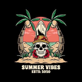 Винтажная иллюстрация черепа vibes с пальмой для дизайна футболки