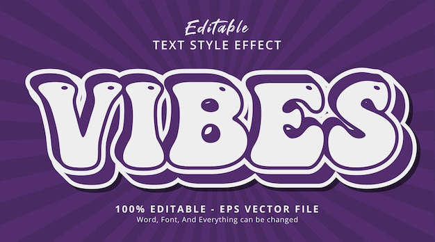 Vibes text on modern layered template effect, editable text effect Premium Vector