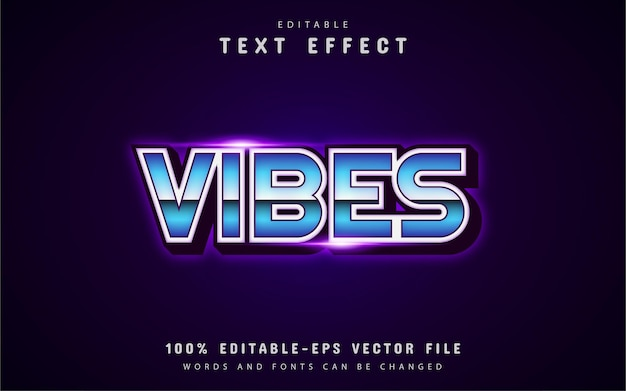 Vibes text, retro 80s style text effect