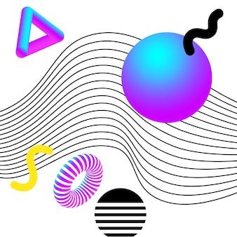 활기찬 3d 형상 및 라인 추상 콜라주. 소셜 미디어 및 시각적 콘텐츠, 웹 및 ui 디자인, 포스터 및 아트 콜라주, 브랜딩을 위한 벡터 디자인.