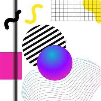 鮮やかな3dジオメトリとラインがコラージュを抽象化します。ソーシャルメディアとビジュアルコンテンツのベクターデザイン、ウェブとuiデザイン、ポスターとアートコラージュ、ブランディング。