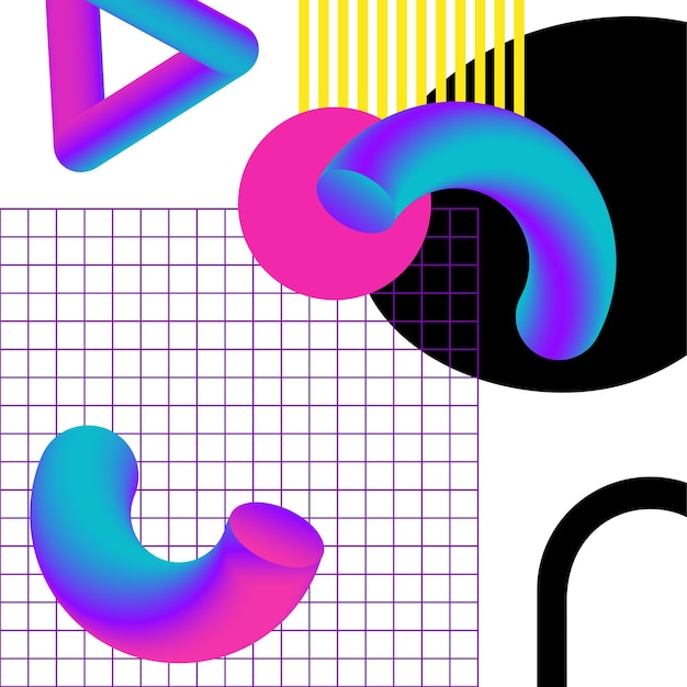 Vibrant 3d geometry and lines abstract collage. vector design for social media and visual content, web and ui design, posters and art collage, branding.