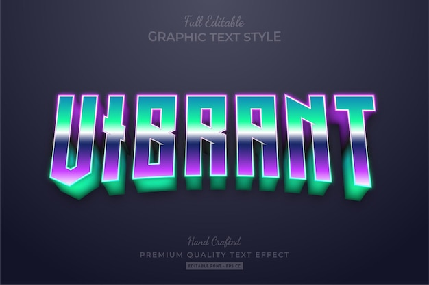 Vibrant 80's gradient editable text effect