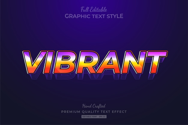 Vibrant 80's retro editable text style effect