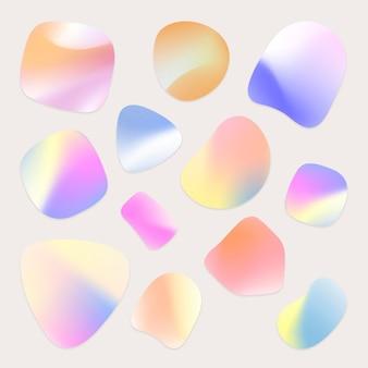 鮮やかなバッジは、ホログラフィックとグラデーションの形状セットをベクトルします
