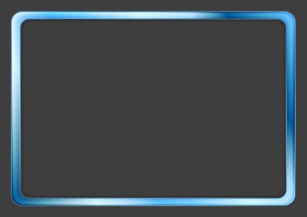 Vibrant blue neon frame on dark background. vector design