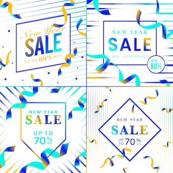 Vibrant blue sale sign vector set