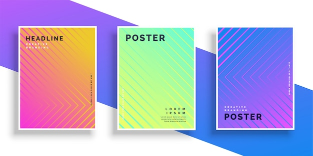 Vibrant bright color line pattern poster design set