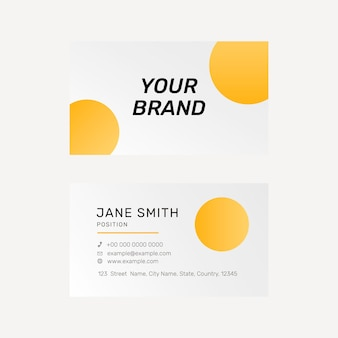 Vibrant business card template in yellow Free Vector
