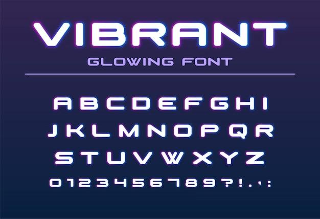 鮮やかな色の光るフォント。未来、未来、技術のアルファベット。バーパーティー、夜の街の照明、ハイテククラブのロゴデザインのネオン文字と数字
