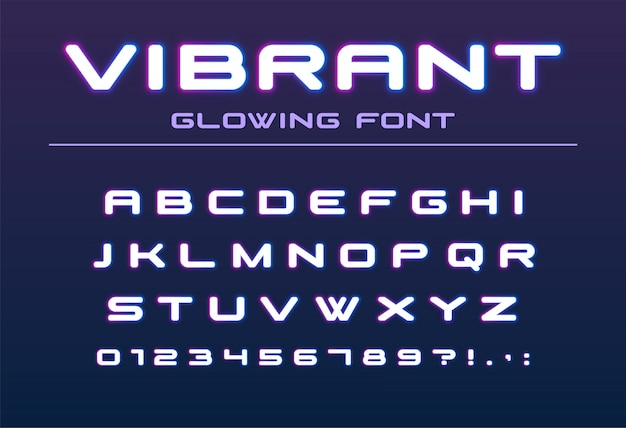 Vibrant color glowing font. future, futuristic, technology alphabet. neon letters and numbers for bar party, night city illumination, hi-tech club logo design