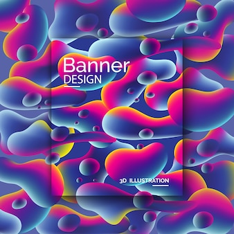 Vibrant colored banner with 3d shapes