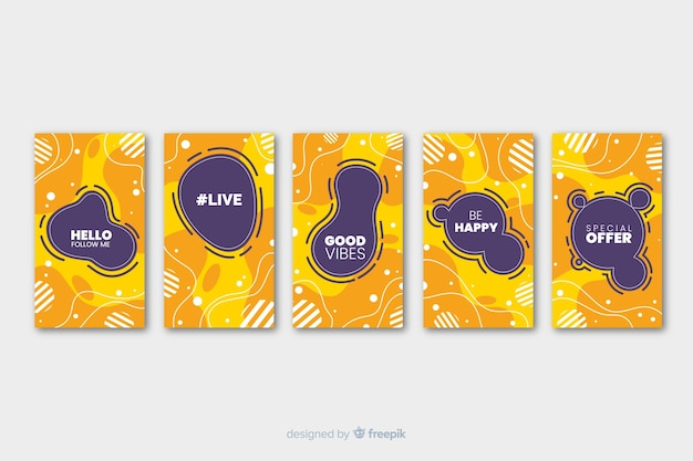Vibrant colored memphis instagram stories template