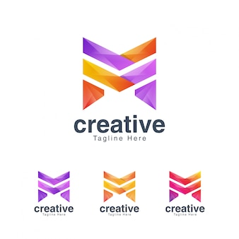 Vibrant creative letter m logo design template