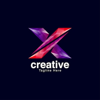 Vibrant creative letter x logo design template