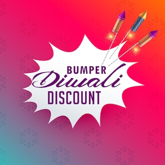 Vibrant diwali sale and discount poster design with fireworks rocket